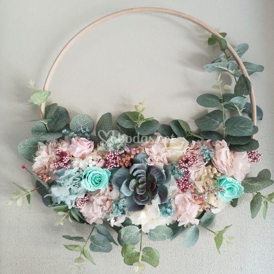 Wedding hoop preservado y seda