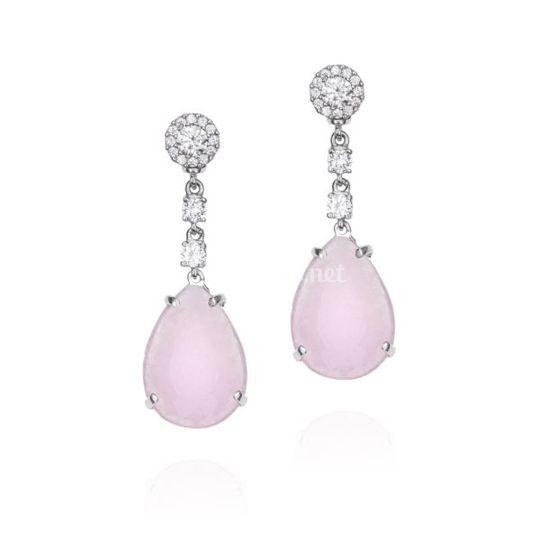 Pendientes Plata con jade rosa
