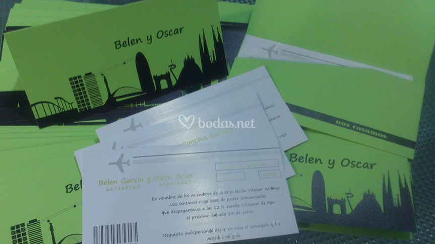 Invitaciones ticket avión