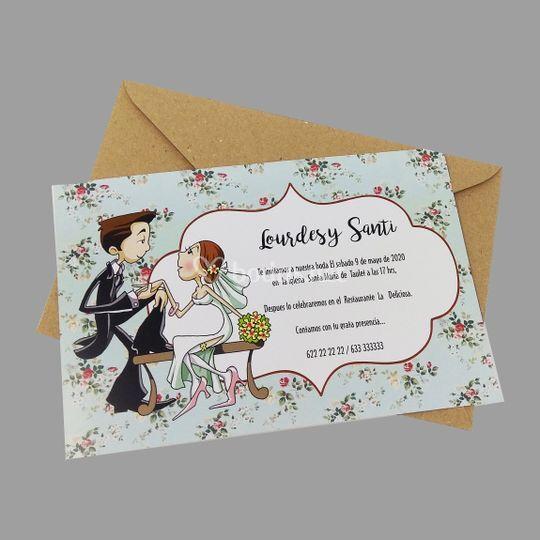 Invitación boda personajes