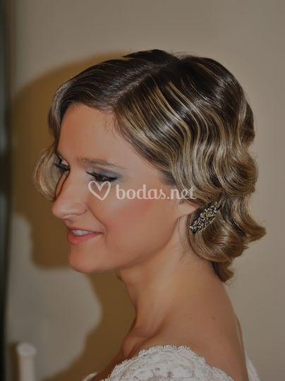 Peinado de ondas para novia