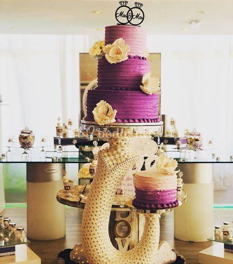 Mesa de la tarta y candy bar