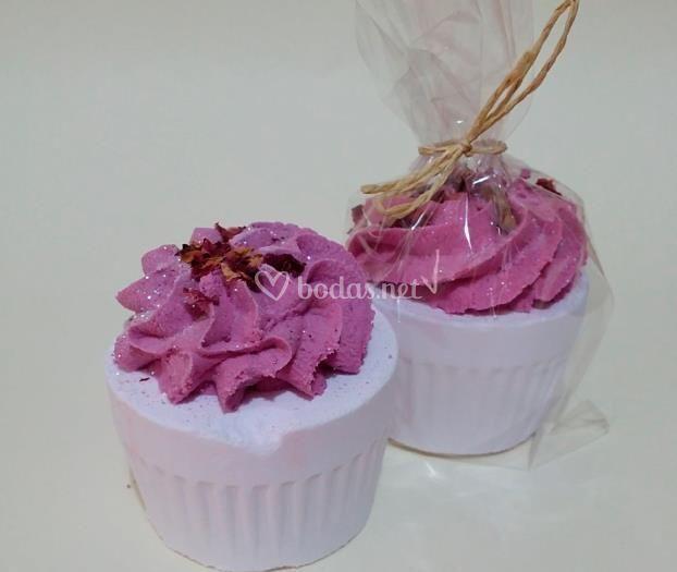 Muffins de pétalos de rosa