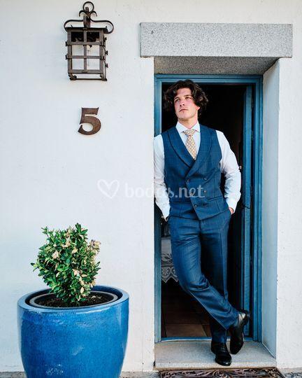 Chaqué Príncipe de Gales azul