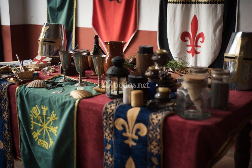 Decoración para boda medieval