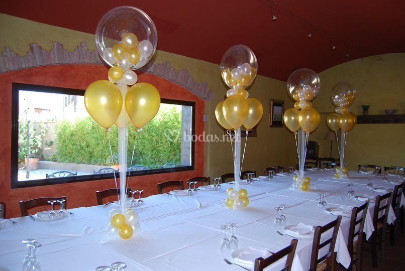 Centro mesa globos interiores