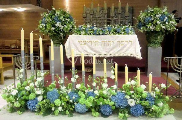Arreglo floral del altar