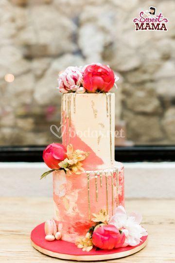 Drip Cake Boda Fucsia