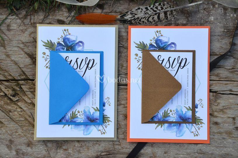 Floral azul oro invitación