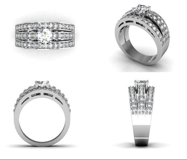 Sortija triple diamantes