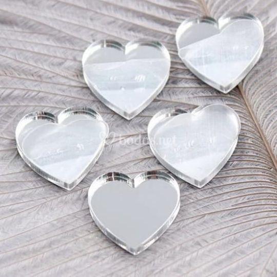Pendientes corazón espejo plat