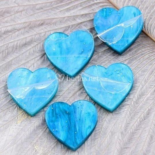 Pendientes corazón azul marmol