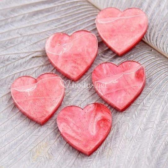 Corazónes rojo mármolado