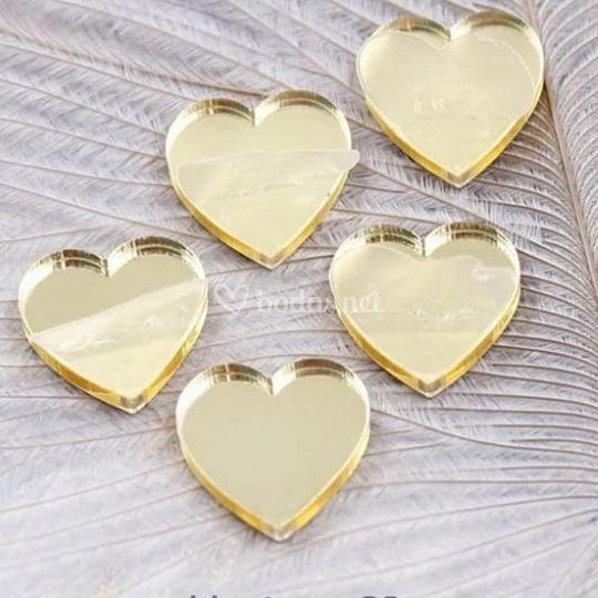 Corazónes oro espejo