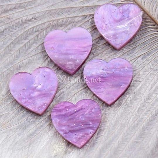 Corazónes morado mármolado