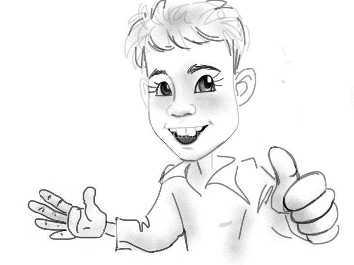 Caricatura niño medio cuerpo