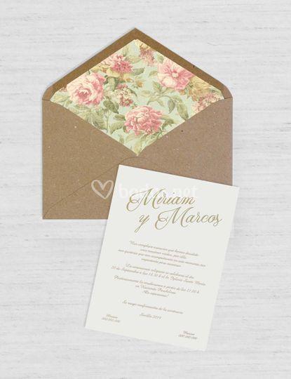 Invitación Rosas Vintage