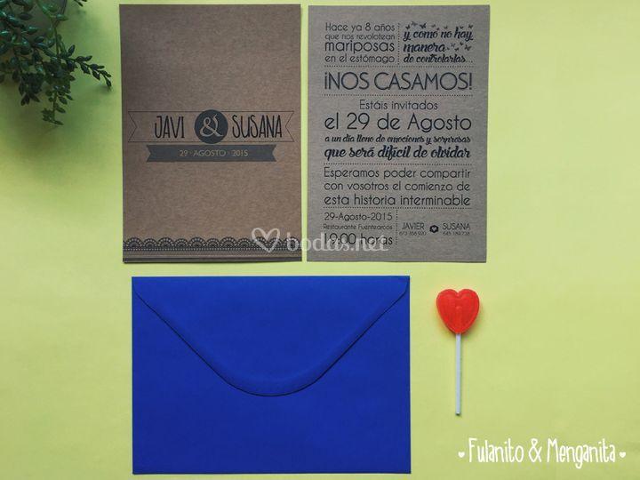 Invitaciones en papel kraft