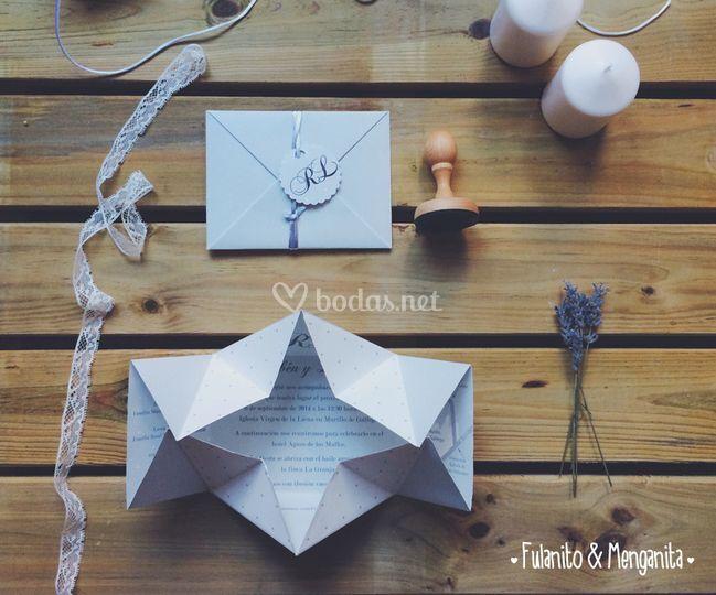Invitación modelo origami de Fulanito y Menganita