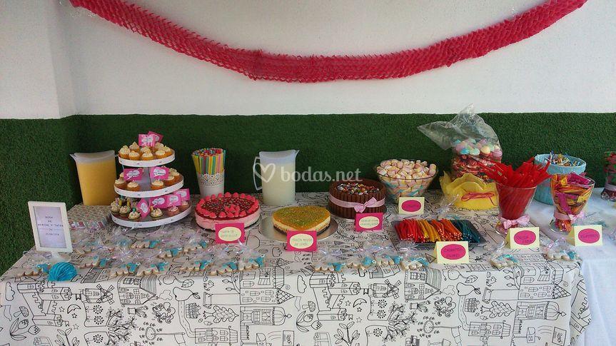 Mesa dulce para boda hippie