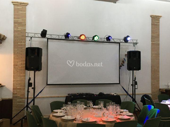 Montaje de boda en el banquete
