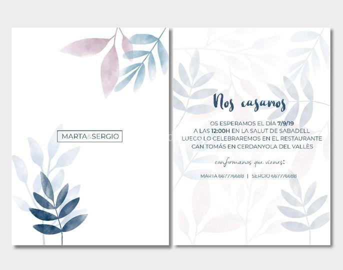 Invitación de boda tarjeta 13x18 mod.2