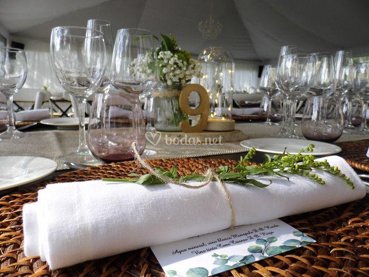 Detalle decoración banquete