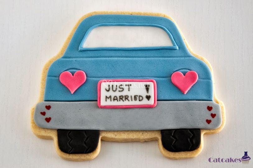 Galleta coche recién casados