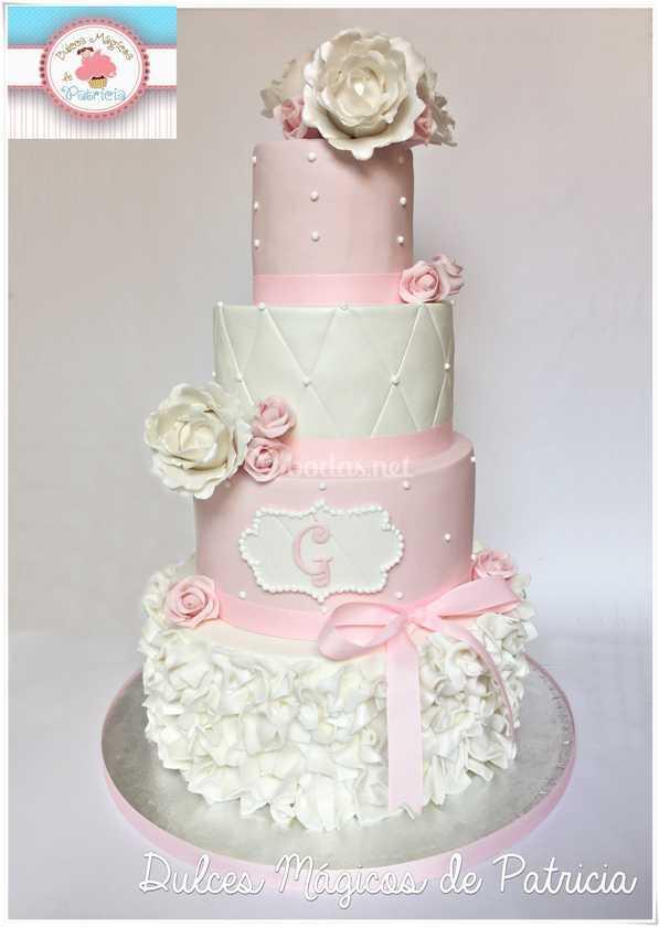 Tarta boda rosa y blanca