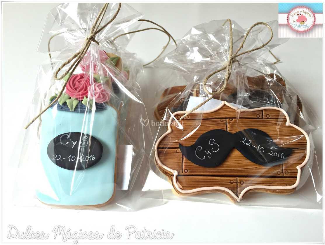 Galletas boda bigotes y tarros
