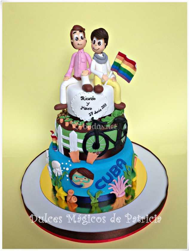 Tarta de boda colorida