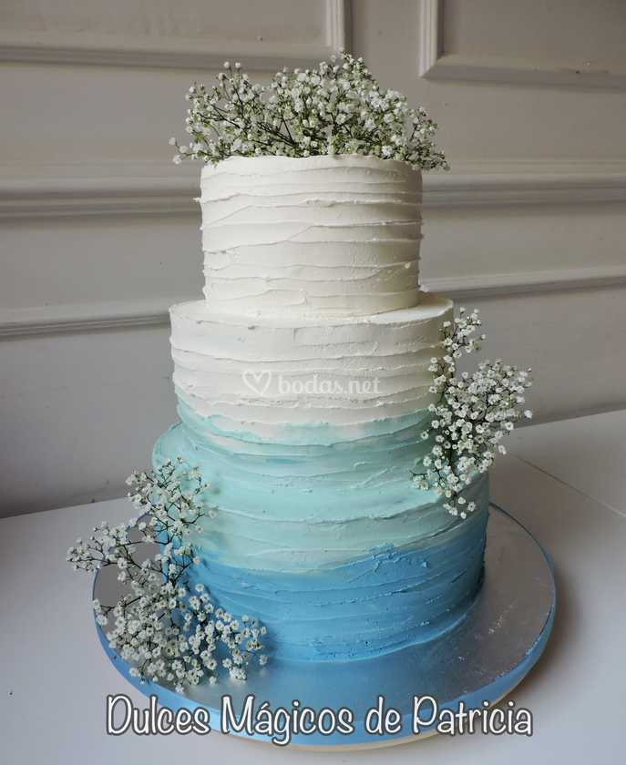 Tarta crema degradado azul