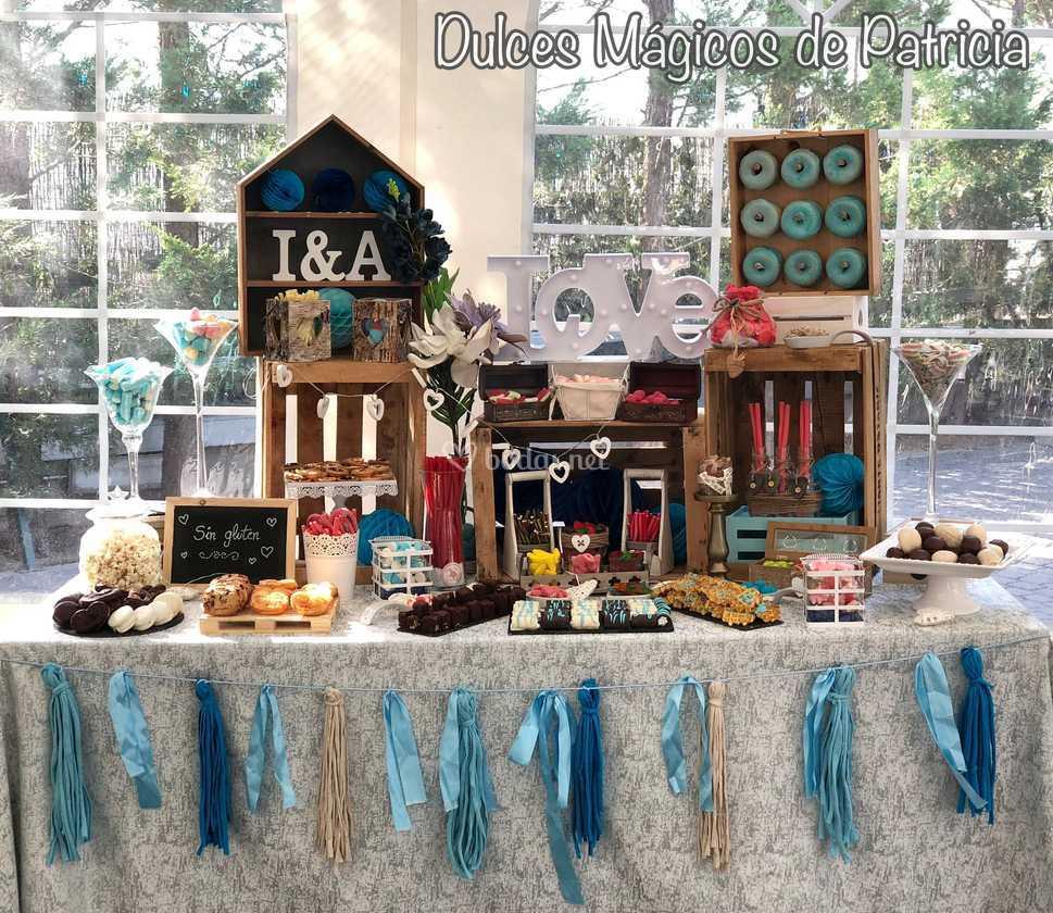 Mesa dulce boda azul