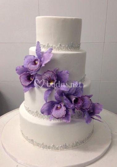 Tarta de boda orquídeas