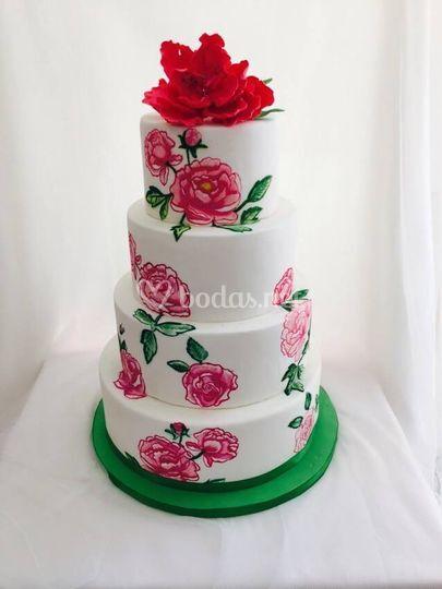 Tarta de boda flores pintadas