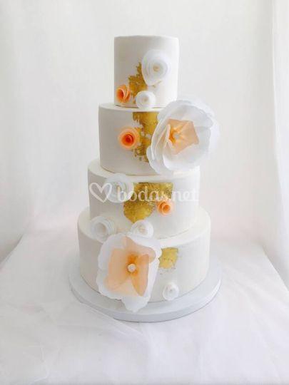 Tarta de boda oro comestible