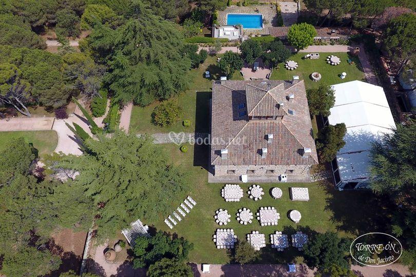 Vista del aérea de los jardines