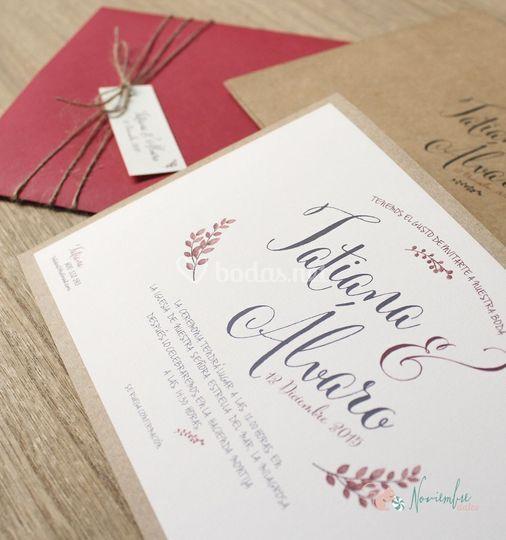 Invitación caligrafía vintage