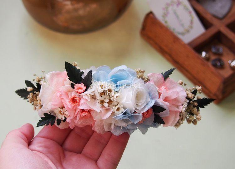 Tocado flores preservadas