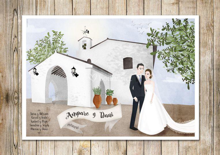Ilustración novios y ermita