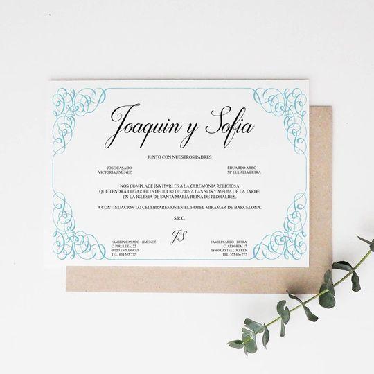 Invitación boda 'Bleu'