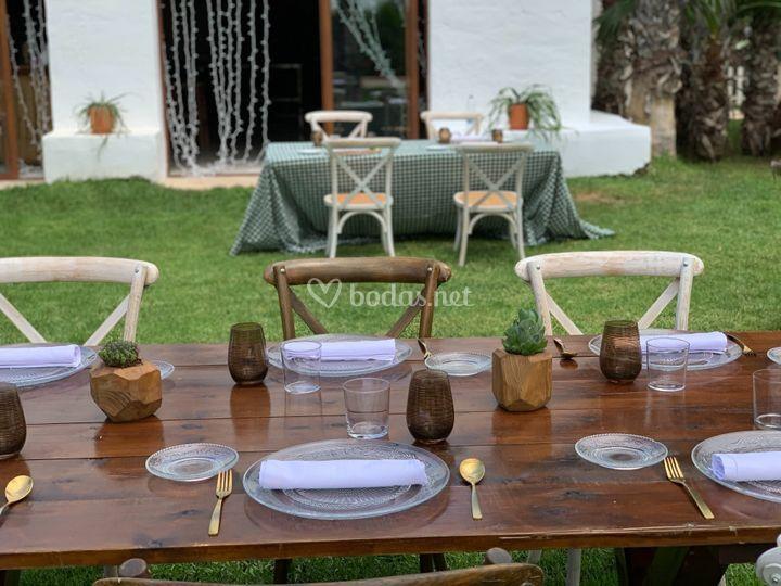 Mesa madera vichy verde