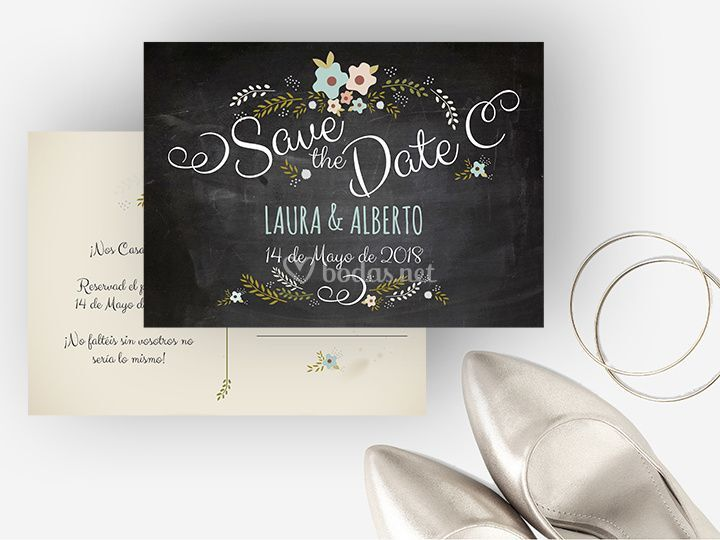 Save the Date Chalk Blue de Comotinta