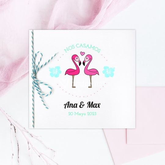 Invitación Flamingo love