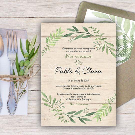 Invitación Olivo Wood