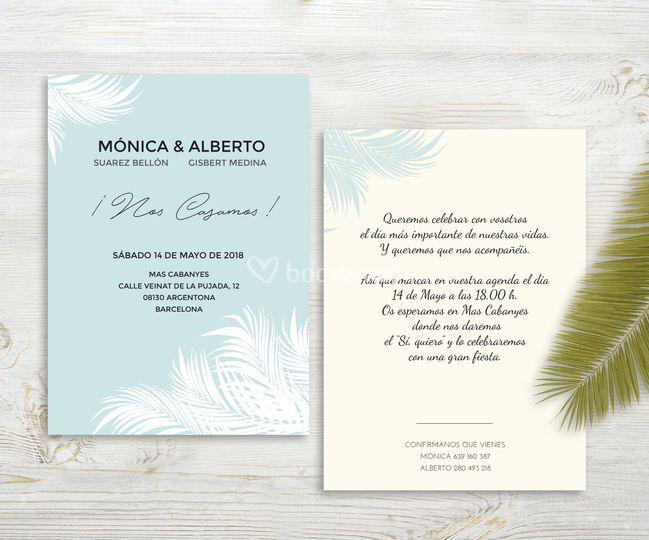 Invitación Palm Blue