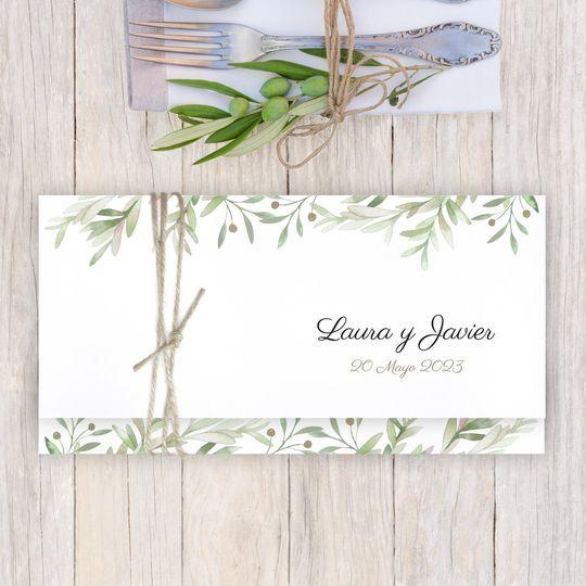 Invitación verde olivo