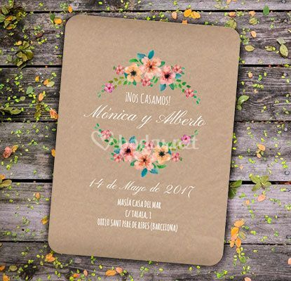Invitación Wildflowers Kraft