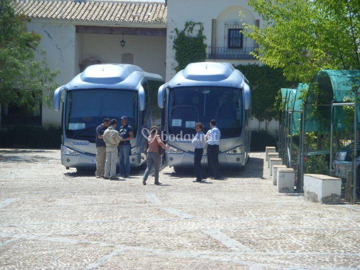 Espacio grande para autobuses