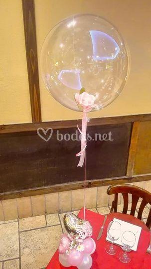 Centro de globos rosa